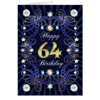 64. Geburtstagskarte mit Massen der Juwelen Karte