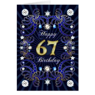 67. Geburtstagskarte mit Massen der Juwelen Karte