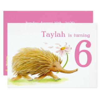 6. Geburtstag der Naturweg Echidna-Mädchen lädt 11,4 X 15,9 Cm Einladungskarte