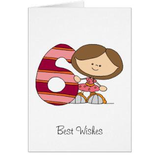 6. Geburtstag - Gruß-Karte - Mädchen