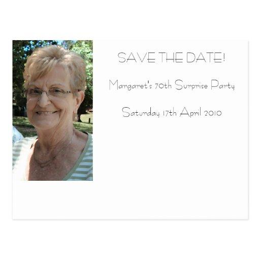 70. Geburtstag Save the Date Postkarte