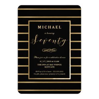 70. Geburtstags-Einladung - Gold, elegantes 12,7 X 17,8 Cm Einladungskarte