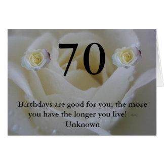70. Zitat-Gruß Rose des Geburtstages weißer Karte