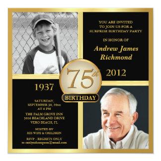 75. Geburtstags-Einladungen dann u. jetzt Fotos Quadratische 13,3 Cm Einladungskarte