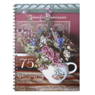75. Geburtstags-Party-Gast-Buch, Vintage Teekanne Notizblock