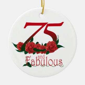 75 und fabelhafte 75. Geburtstagszahl Rundes Keramik Ornament