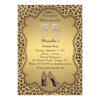 75thBirthday Party, 75., Cheetah-hohe Heels-Schuhe Karte