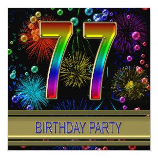 77. Geburtstags-Party Einladung mit Blasen
