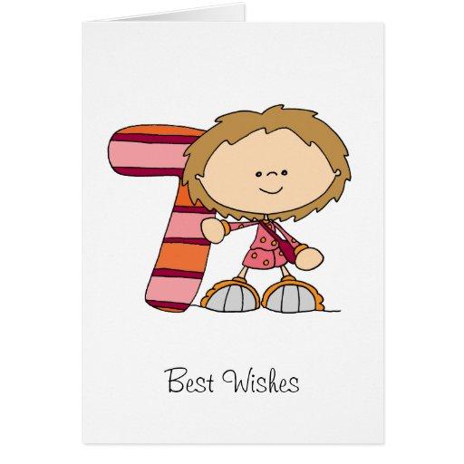 7. Geburtstag - Gruß-Karte - Mädchen