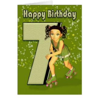 7 Geburtstags-Karte - kleines Mädchen-Skaten