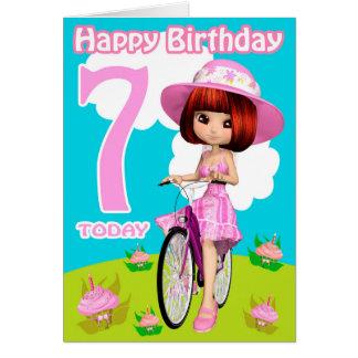 7. Geburtstags-Karten-hübsches kleines Mädchen auf Grußkarte