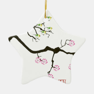7 Kirschblüte-Blüten mit 7 Vögeln, tony fernandes Keramik Stern-Ornament