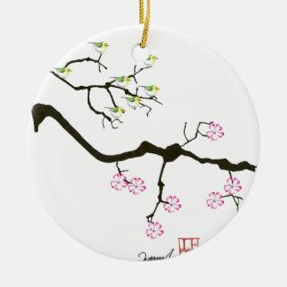 7 Kirschblüte-Blüten mit 7 Vögeln, tony fernandes Rundes Keramik Ornament