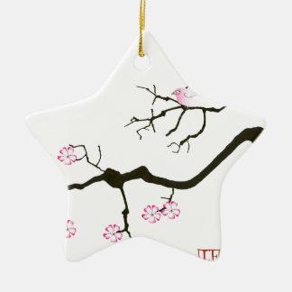 7 Kirschblüte-Blüten mit rosa Vogel, tony Keramik Ornament