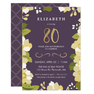 80. Geburtstags-Einladung, fertigen Blumen mit 8,9 X 12,7 Cm Einladungskarte