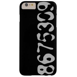 8675309 Telefon-Kasten-Schwarzes mit grauen Zahlen Barely There iPhone 6 Plus Hülle