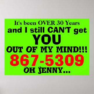 867-5309 Achtzigerjahre humorvolles Plakat