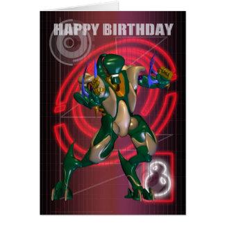 8. Alles Gute zum Geburtstag mit Roboter-Krieger Karte