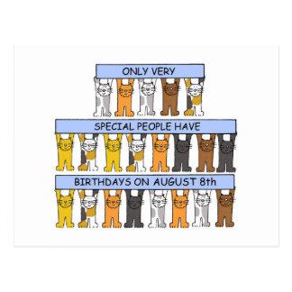 8. August Geburtstags-Katzen Postkarte
