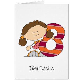 8. Geburtstag - Gruß-Karte - Mädchen