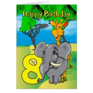 8. Geburtstags-Karte - Elefant, Giraffe, Dschungel Karte