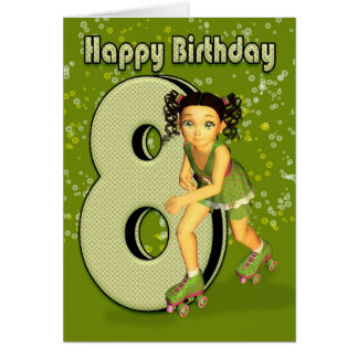 8. Geburtstags-Karte - kleines Mädchen-Skaten Karte