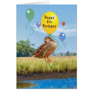 8. Geburtstags-Karte mit Ente und Ballonen Karte