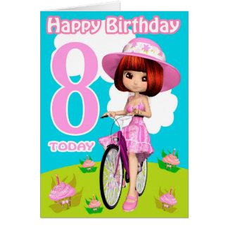 8. Geburtstags-Karten-hübsches kleines Mädchen auf Grußkarte