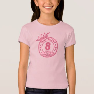 8 Jahre - Geburtstags-Prinzessin - Rosa T-Shirt