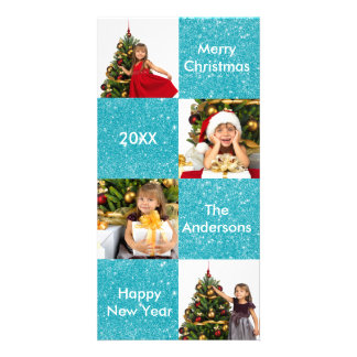 8 Quadrat-blauer Glitter - WeihnachtsFoto-Karte Foto Grußkarte