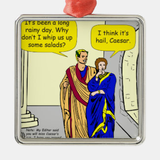"""902 Caesar """"ich Cartoon mache eines Salats"""" Quadratisches Silberfarbenes Ornament"""