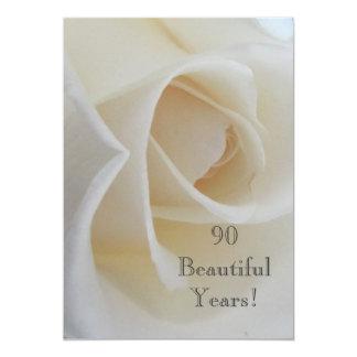 90 BeautifulYears Geburtstags-Feier/weiße Rose Karte