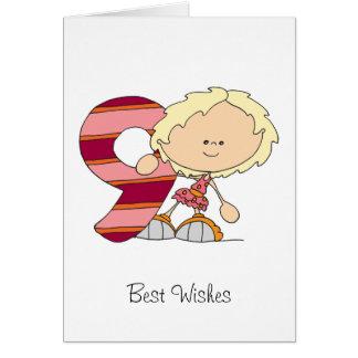 9. Geburtstag - Gruß-Karte - Mädchen