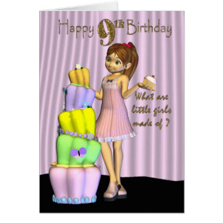 9. Geburtstag, kleines Mädchen der alles- Gute zum Grußkarte