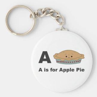A ist für Apfelkuchen Standard Runder Schlüsselanhänger