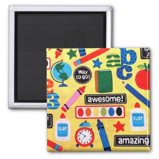 ABC-Schule fantastisch Quadratischer Magnet