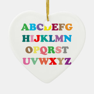 ABCs bunte Buchstaben Keramik Herz-Ornament