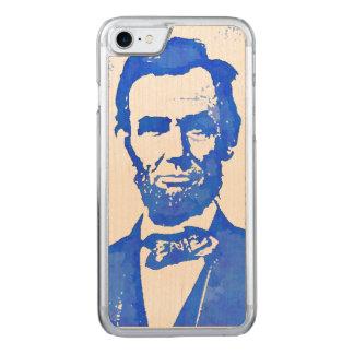 Abe Lincoln Pop-Kunst-Porträt im Blau Carved iPhone 8/7 Hülle