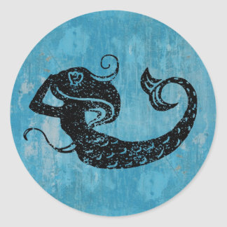 Abgenutzte Meerjungfrau Runder Aufkleber