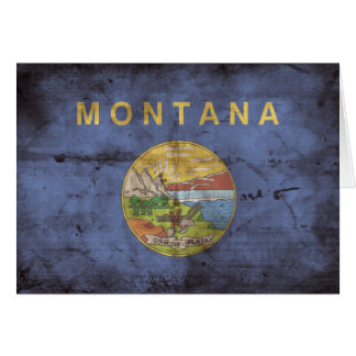 Abgenutzte Montana-Flagge; Karte