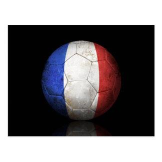 Abgenutzter französischer Flaggen-Fußball-Fußball Postkarte