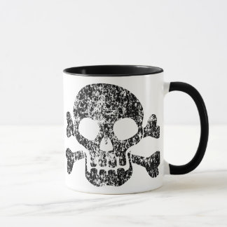 Abgenutzter Totenkopf mit gekreuzter Knochen Tasse