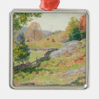 Abhang-Weide im September - Willard Metcalf Quadratisches Silberfarbenes Ornament