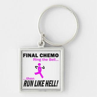 Abschließendes Chemo lassen sehr viel - Brustkrebs Silberfarbener Quadratischer Schlüsselanhänger