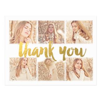 Abschluss-Gold danken Ihnen Foto-Rahmen-Postkarte Postkarten