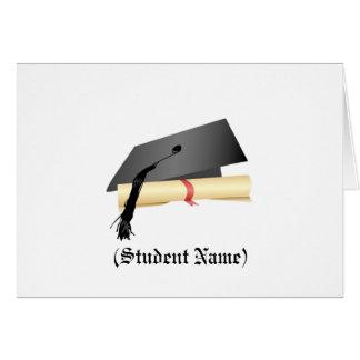 Abschluss-Kappe und Diplom, personalisiertes Brief Grußkarte
