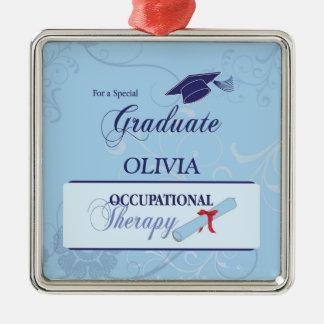Abschluss-Wirbel, quadratisches Geschenk Silbernes Ornament