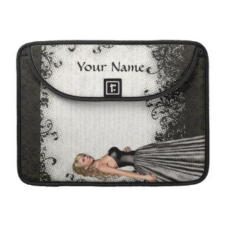 Abschlussballmädchen in einem schwarzen Kleid Sleeve Für MacBooks