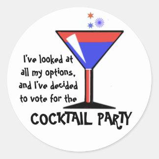 Abstimmung für das Cocktail-Party! Runder Aufkleber