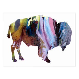 Abstrakte Bison-Silhouette Postkarte